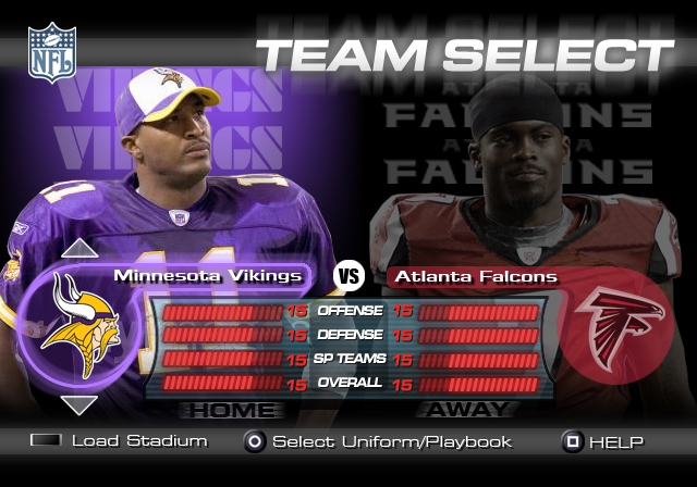 Team Select screen from the NFL title.
