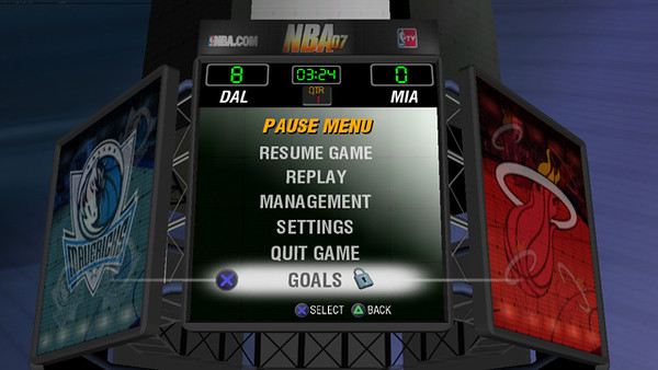 Final concept animated 3D jumbotron Pause menu.
