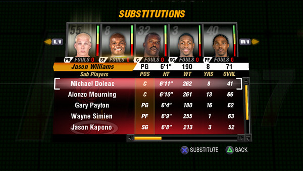 Final concept Edit Roster/Substitution screen.