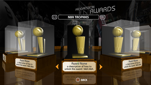 Working file for the Progression Trophy Room. Models and text are dynamic and only appear when unlocked. In 09 we added 3D bobbleheads.