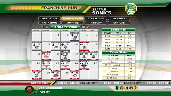 Franchise Hub Calendar screen.
