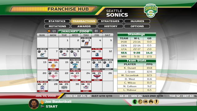 Franchise Hub Calendar screen.