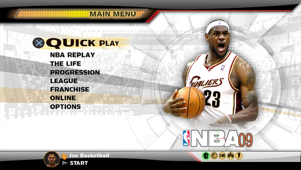 Concept 3. Marketing didn't like the retro style and requested that we create more of a Sports Television Broadcast look. Concept 3 was approved for the look and feel of the NBA 09 UI.