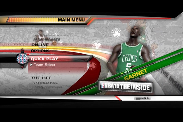 NBA 10 Concept 1.  The idea was to keep a similar look and feel from NBA 09. I received a request to try out player models in place of photos.
