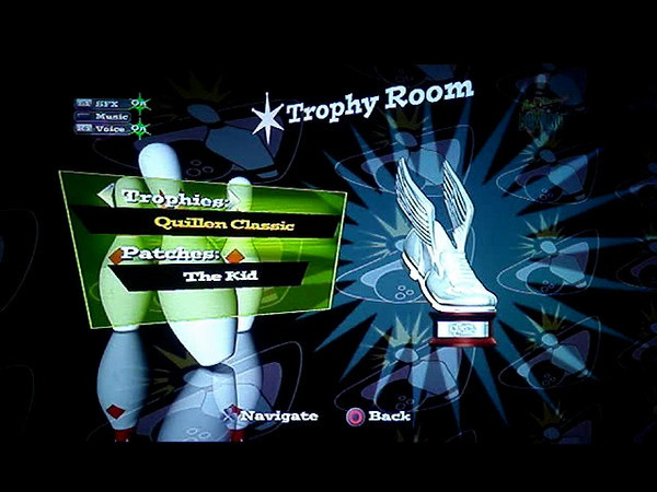 High Velocity Bowling Trophy Room Screen. Added widgets to select trophies and patches that the user can unlock throughout the game.