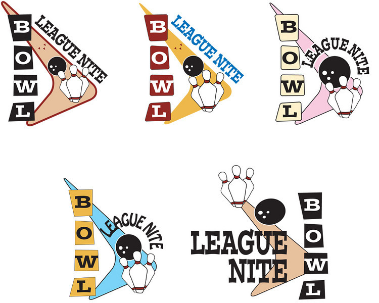 More logo and name concepts for what would eventually be High Velocity Bowling.