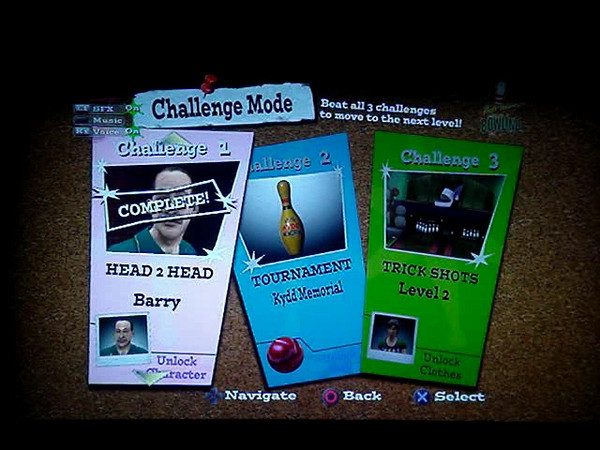 Challenge Mode screen. Update from the original concept to appear as bulletin board posted on the outside of a bowling alley.
