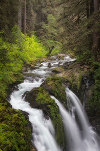 Three waterfalls at Sol Duc River in Olympic National Park Washington