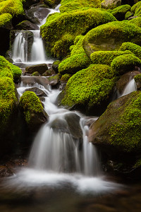 Cascades over rocks at Sol Duc River in Olympic National Park Washington
