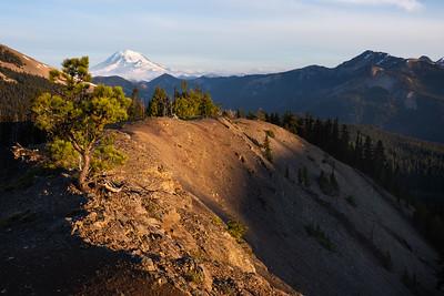 Sunrise on Mt. Rainier and a high ridge in the William O. Douglas Wilderness, southern Washington Cascades