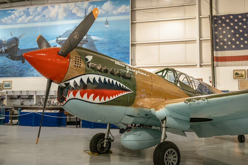 Curtiss P-40 painted with distinctive Flying Tigers shark mouht