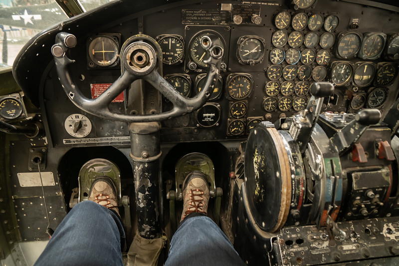 Sitting in the cockpit of a Fairchild C-119 Flying Boxcar