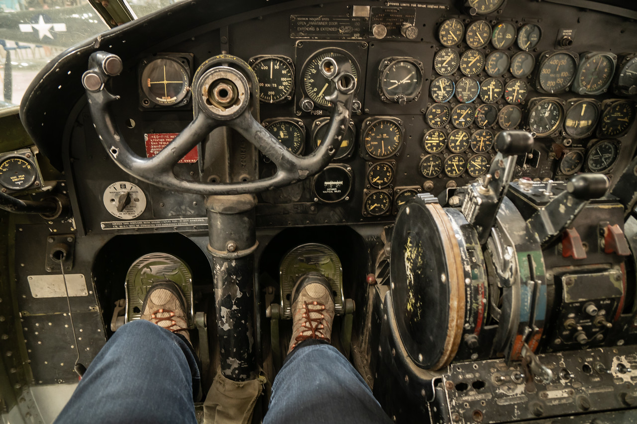 Sitting in the cockpit of a Fairchild Flying Boxcar