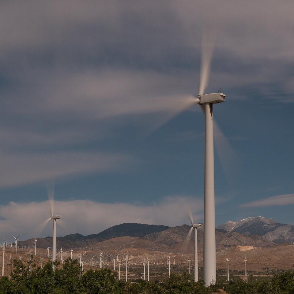 Long exposure image of windmills