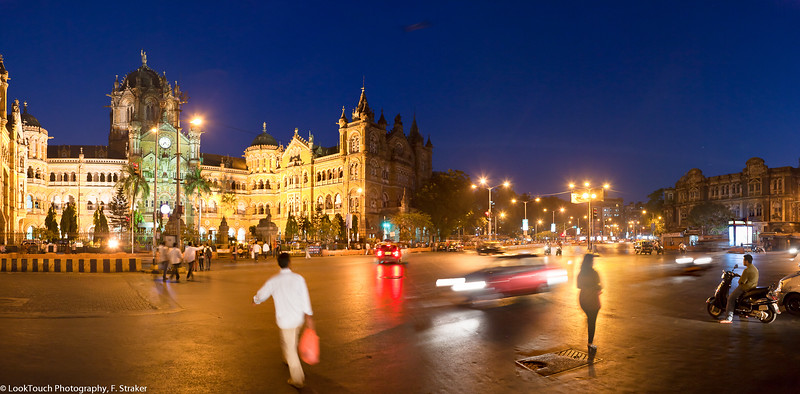 Mumbai street corner, Victoria Terminus<br /> One of the busiest traffic intersections of Mumbai is right in front of the famous train station.