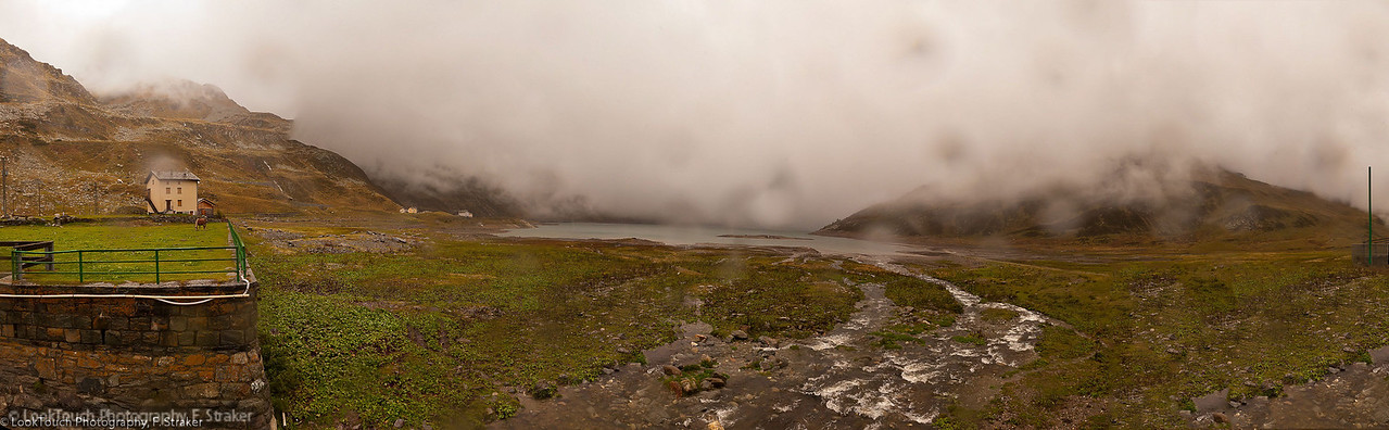 Bad weather at Montespluga (Splügenpass)<br /> View south towards Lago di Stuetta