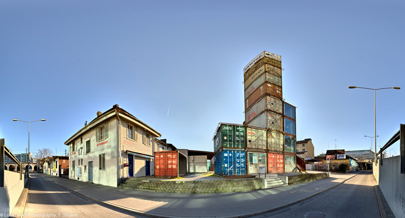 "Freitag shop (front view)<br /> The makers of the Freitag bags distinguish themselves not only by the choice of their material but also with the shop design. A stack of shipping containers is made into a very ""raw"" shopping experience."