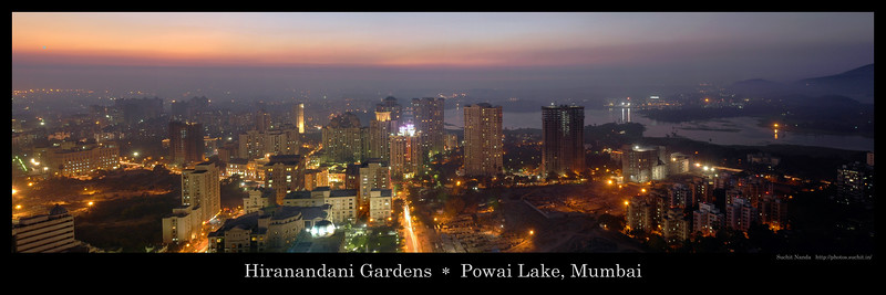 Panoramic image of Sunset over Hiranandani Gardens and Powai Lake, Mumbai, India.