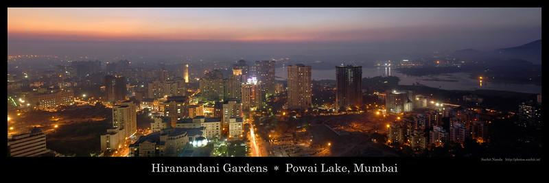 Panoramic image of Sunset over Hiranandani Gardens and Powai Lake, Mumbai, India.