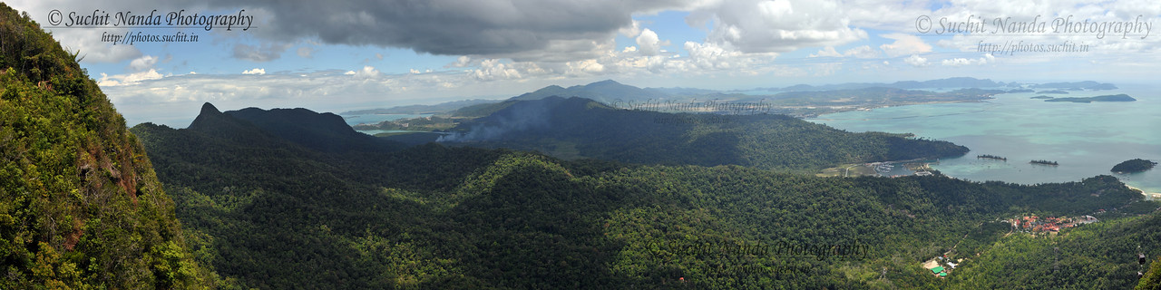Panoramic view of Langkawi from Mat Chinchang Hill reached by cable car from sea level. Malaysia.