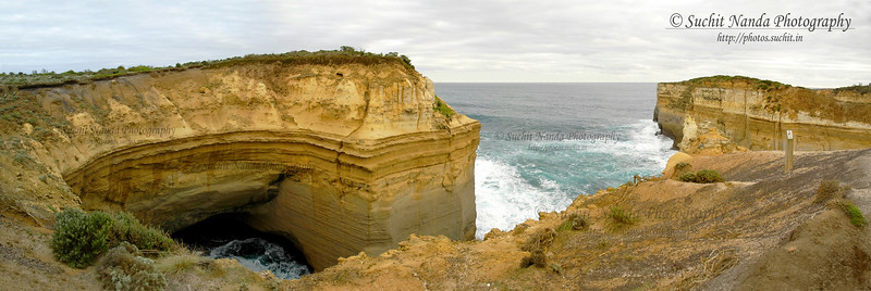 Panoramic view of Limestone rocks along The Great Ocean Road Melbourne, Victoria (VIC), Australia.