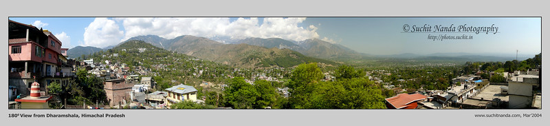 Panoramic image of Dharamshala, Himachal Pradesh, India. The Tibetian spiritual leader Dalia Lama has his ashram here.   http://photos.suchit.in/photos/143594360-O.jpg