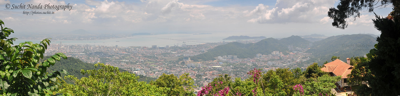 Panoramic view of George Town from Penang Hill, Malaysia.