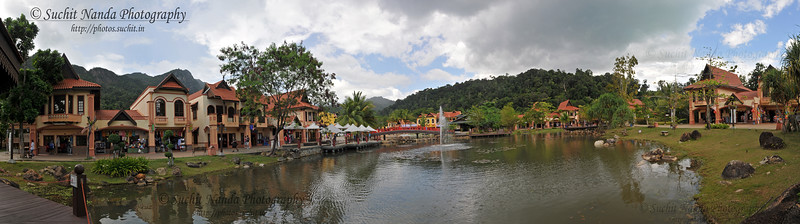 Panoramic view of Oriental Village, Langkawi Geopark, Malaysia. South Asia.