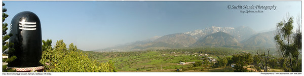 Panoramic image as taken from Chinmaya Mission Siddhbari, Himachal Pradesh, India during the day.   http://photos.suchit.in/photos/143594175-O.jpg