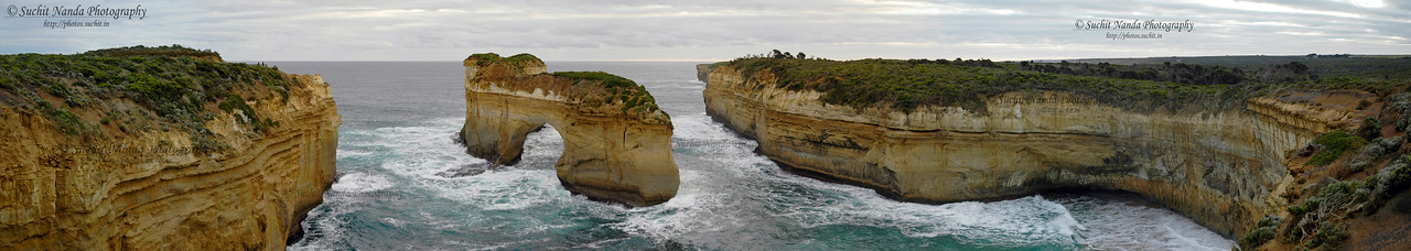 Panoramic image. Seen on the left is the viewing gallery. Limestone rocks along The Great Ocean Road Melbourne, Victoria (VIC), Australia.