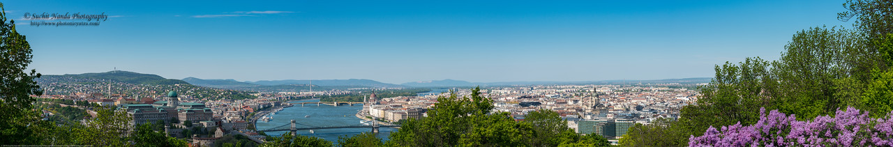 Panoramic view of Budapest, Hungary. View from Citadella, Hapsburg Fortress.