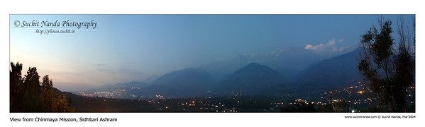 Panoramic night image as taken from Chinmaya Mission Siddhbari, Himachal Pradesh, India.   http://photos.suchit.in/photos/143594413-O.jpg