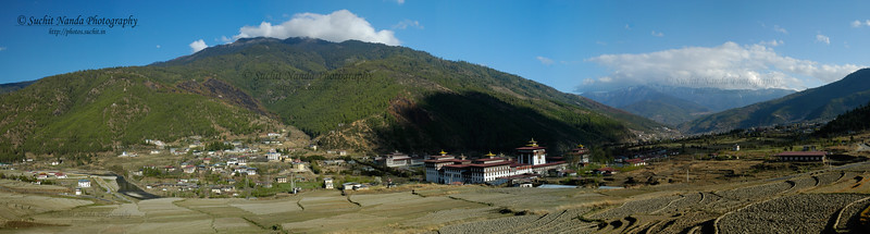 Panoramic view of capital city of Thimphu, Bhutan