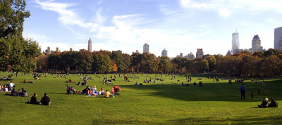 Panorama of the Great Lawn in Central Park.