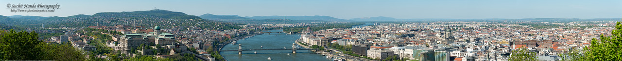 Panoramic view of Budapest, Hungary from Citadella, Hapsburg Fortress. Built after the suppression of the Hungarian Revolution in 1848, this fort is a symbol of the city.