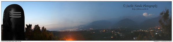 Panoramic image taken just after Sunset from Chinmaya Mission Siddhbari, Himachal Pradesh, India. At the bottom is the light at the kutiya of Swami Chinmayanandaji.   http://photos.suchit.in/photos/143594250-O.jpg
