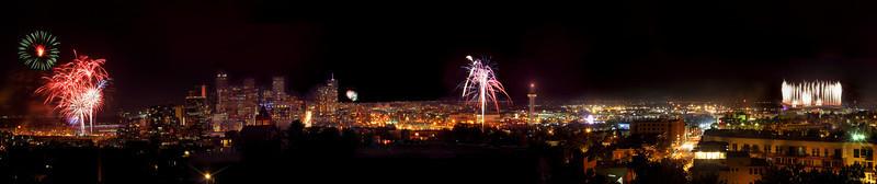 Trio Fireworks Skyline