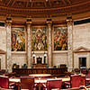 This shot I took at the entrance to the Senate chamber in the capital in building in Madison.  The whole building is incredibly ornate and there are cool shots to take all over the place!  With this particular room the door is set up in such a way that it is impossible to get a wide enough shot to capture the awesome layout of the whole room... so I decided to try and take an HDR panorama. In the end that means that this shot is actually 20 shots combined into one (it took a very long time to process). Anyway, I really loved the details in the marble and the awesome paintings all over the capital, but this room was the crown jewel of the whole thing.  And, while I am still not entirely sure that I was supposed to be here, but I was glad I stopped to get this shot.