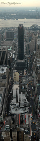 Vertical Panoramic image. View from Empire State Building of New York City.
