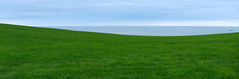 Fields and sea.