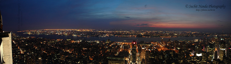 Late evening panoramic view from Empire State Building, NYC, New York, USA.