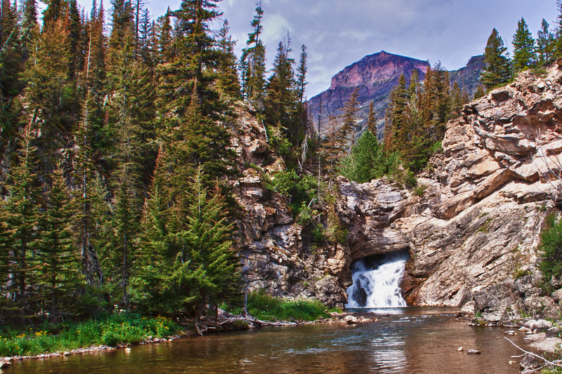 HDR image of Running Eagle Falls in the Two Medicine area of Glacier National Park in Montana.