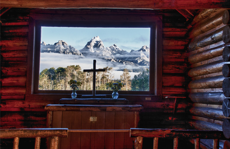 HDR image of window view in chapel in the Grand Tetons National Park in Wyoming.