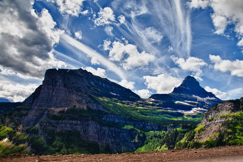 HDR image of Mount Clements with beautiful cloud formations in Glacier National Park in Montana.