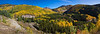 "Panorama of autumn color with Aspen trees on the ""Million Dollar Highway"" in Colorado."