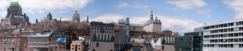 Panorama of Quebec City, Quebec, Canada, viewed from cruise ship dock.