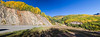 """Panorama of autumn color with Aspen trees on the """"Million Dollar Highway"""" in Colorado."""