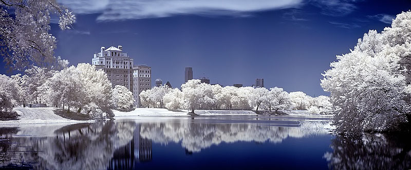 """Dallas Texas - Lake Cliff Infrared <BR><BR>Want to buy a print of this image?  Click <a href=""""http://www.langfordphotography.com/For-Sale/New-Site-Panormaics/9004552_h7zw9H"""">Here</a>!"""