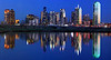 """Dallas Texas - Sunset Skyline Reflection <BR><BR>Want to buy a print of this image?  Click <a href=""""http://www.langfordphotography.com/For-Sale/New-Site-Panormaics/9004552_h7zw9H"""">Here</a>!"""