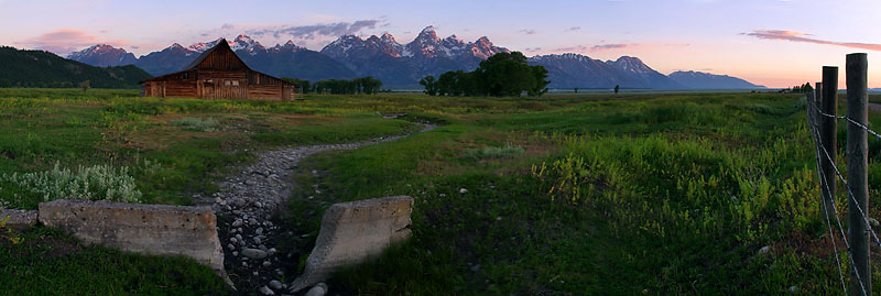 "Grand Teton National Park - Morman Row Sunrise <BR><BR>Want to buy a print of this image?  Click <a href=""http://www.langfordphotography.com/For-Sale/New-Site-Panormaics/9004552_h7zw9H"">Here</a>!"